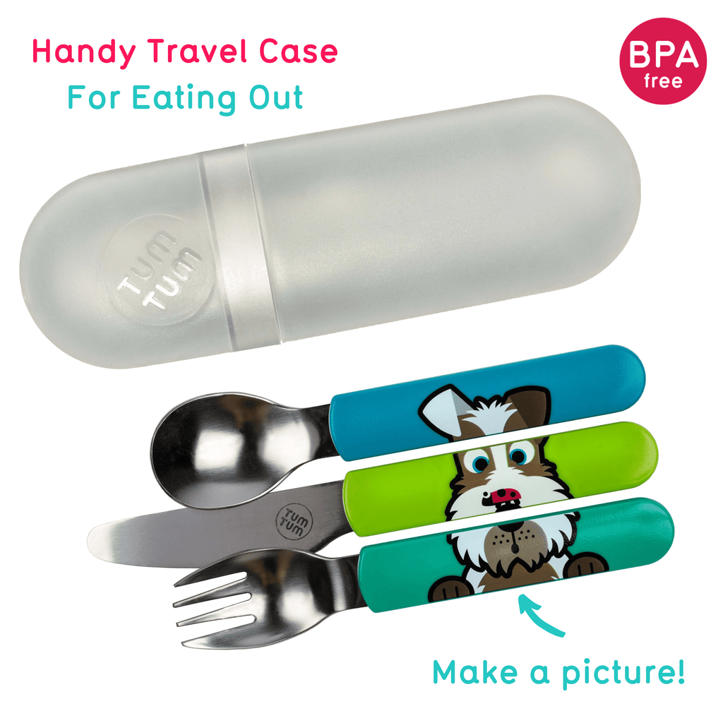 Kids cutlery with case, dog