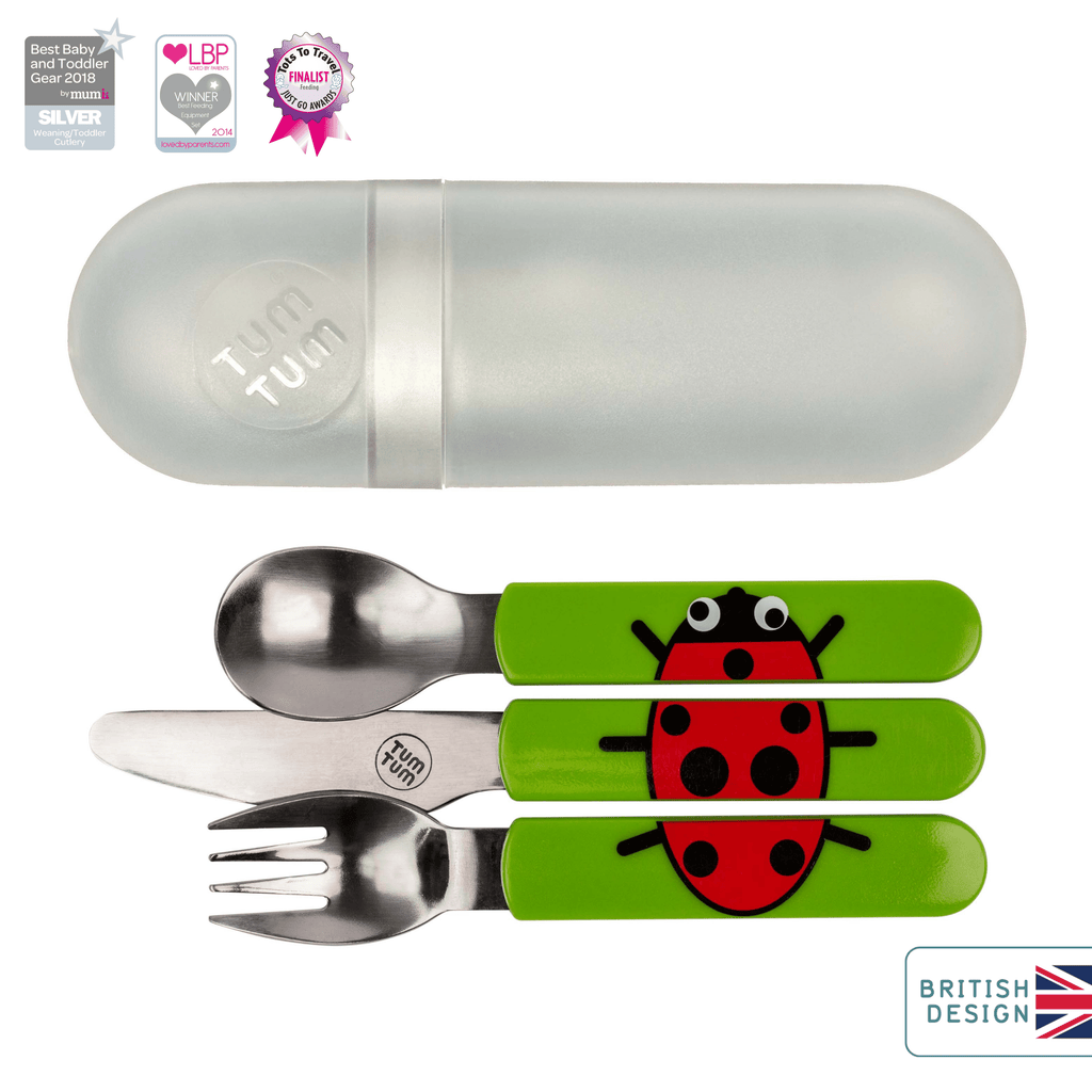 Kids travel cutlery set, ladybird