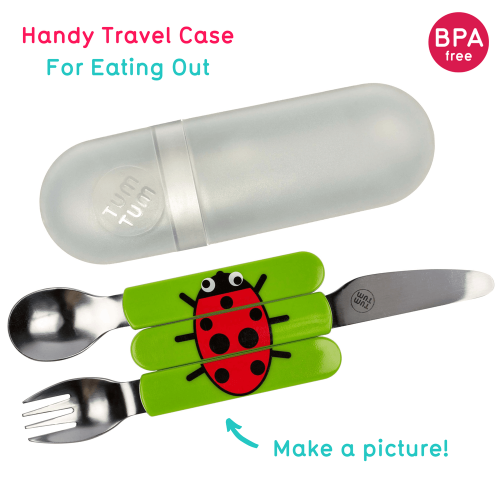 Toddler cutlery with travel case, ladybird
