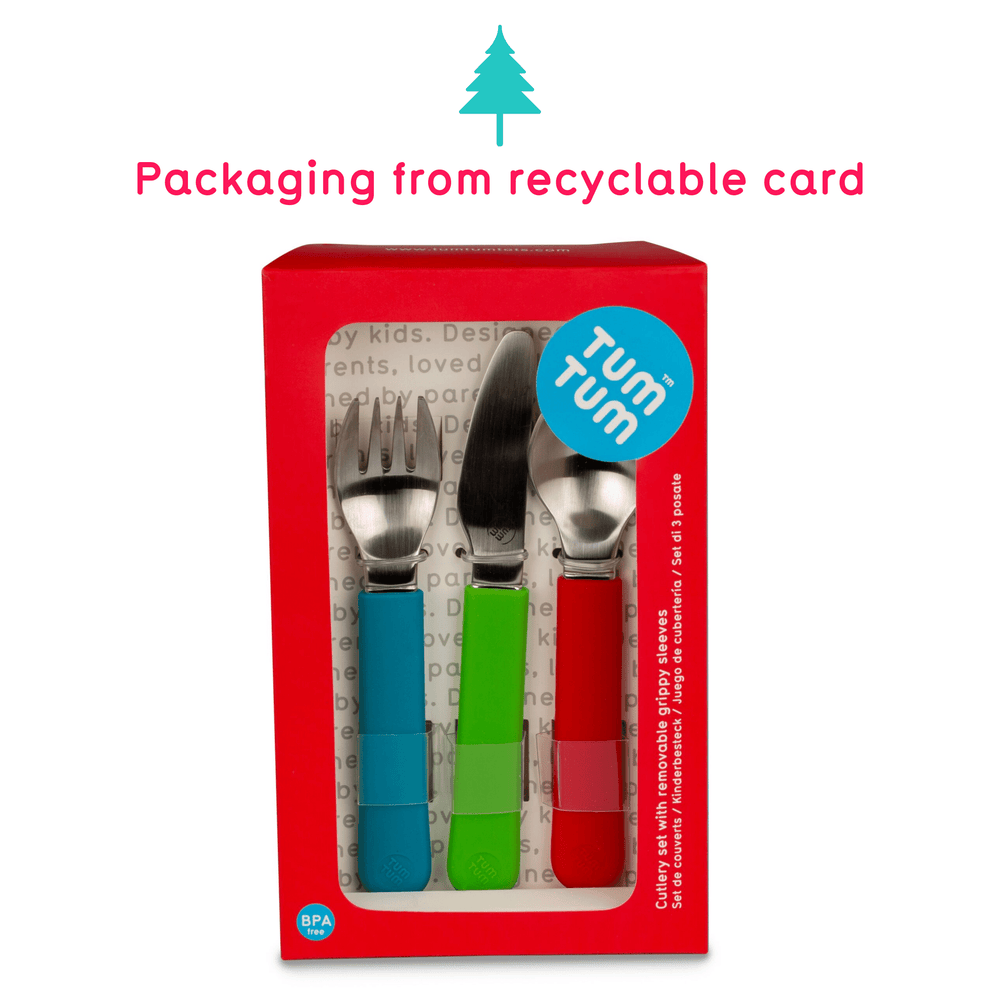 Stainless Steel Children's Cutlery Set, with Removable Grippy Sleeves