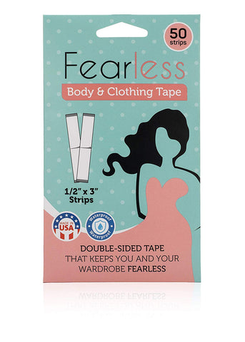 Image of Fearless Tape - Womens Double Sided Tape for Clothing and Body, Transparent Clear Color for All Skin Shades, 50 Count.