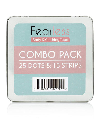 Fearless Double Sided Tape - Combo Pack of Dots and Strips for Fashion, Clothing & Body | All Day Strength & Superior Adhesive Grip Yet Gentle on Skin & Fabrics | Transparent Tape for All Skin Tones