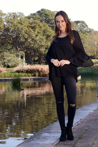 Frill Sleeve Top | Black