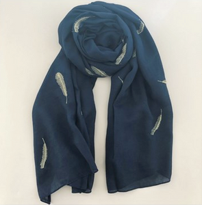 Navy Metallic Leaves Scarf