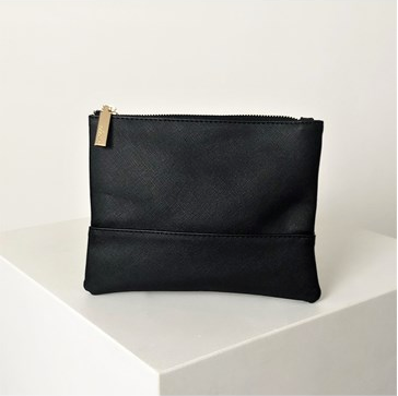 Textured Zip Pouch | Black