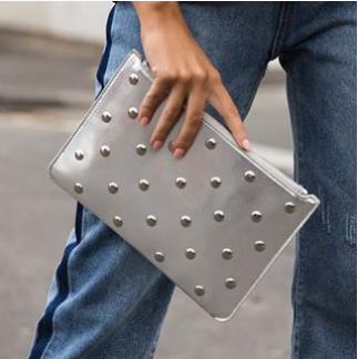 Studded Clutch | Silver