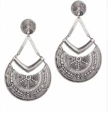 Inca Etched Earrings | Silver