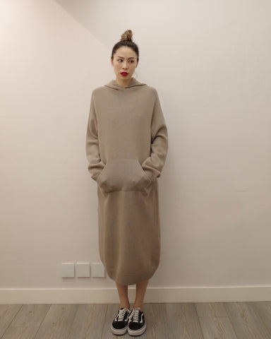 Hooded Knit Maxi Dress