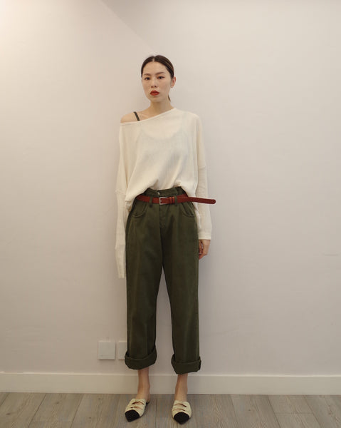 high waist green pants