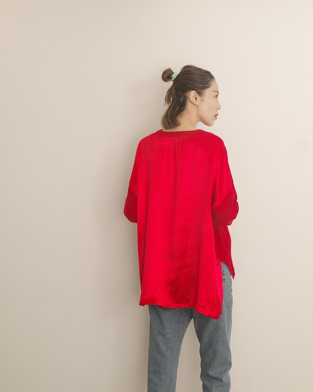 red knit with satin back