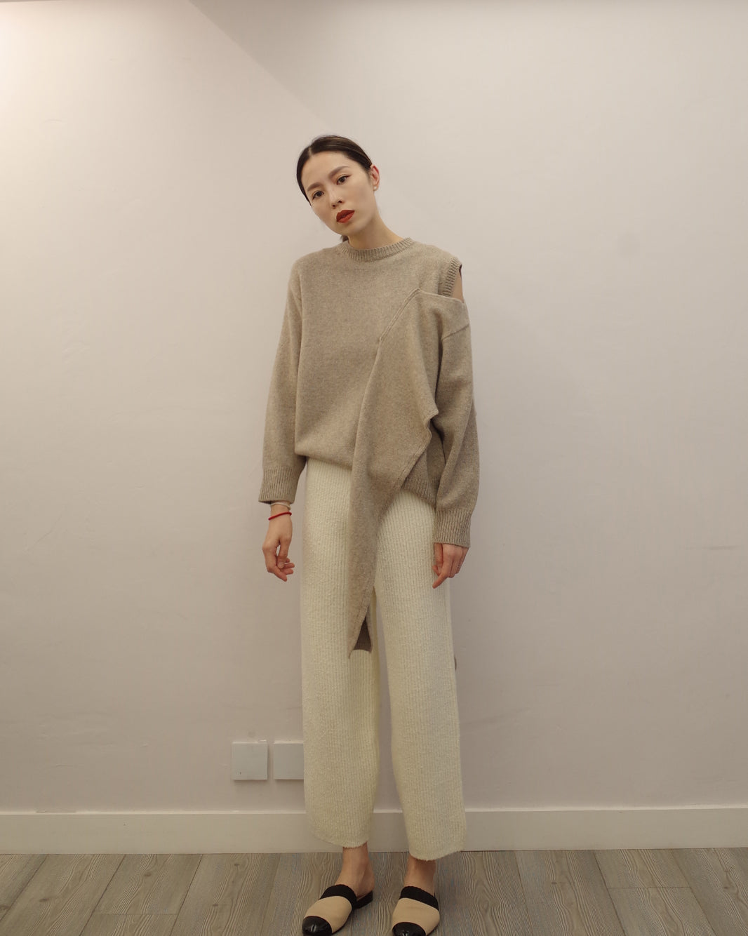 cream chunky knit pants