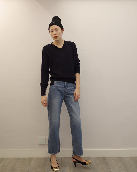 stepped hem navy knit