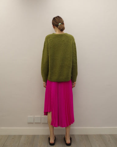 shocking pink pleated skirt