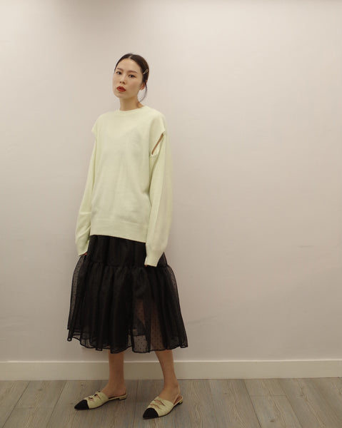 off white cut out knit