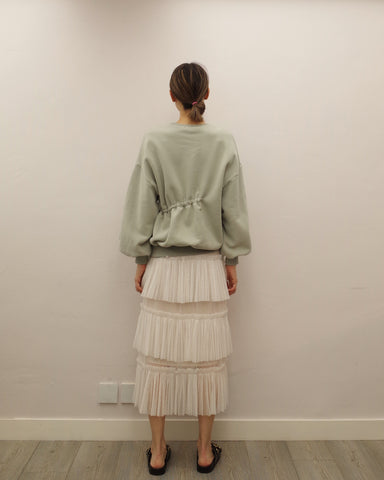 layered pleated mesh skirt