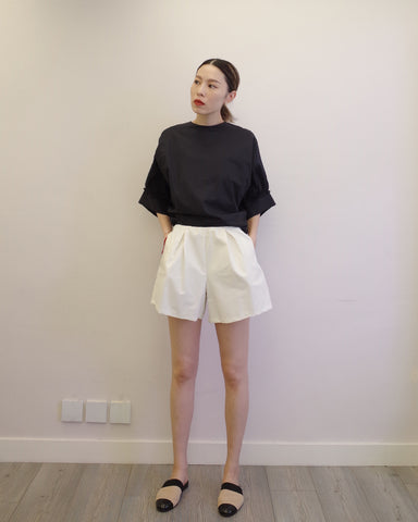 pleated twill shorts