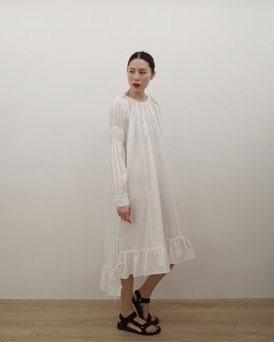 shirring sleeves dress