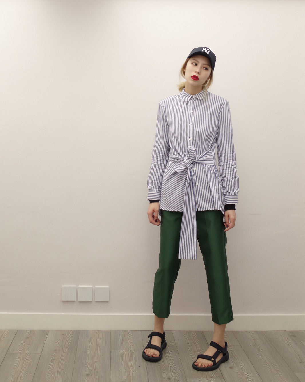 pinstripe shirt with front knot