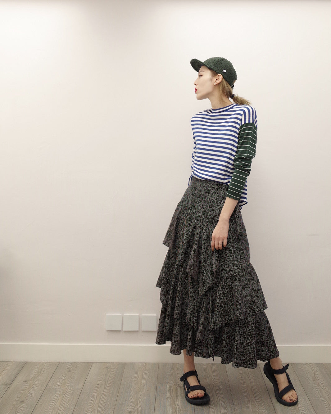 polka dot asymmetric layered skirt