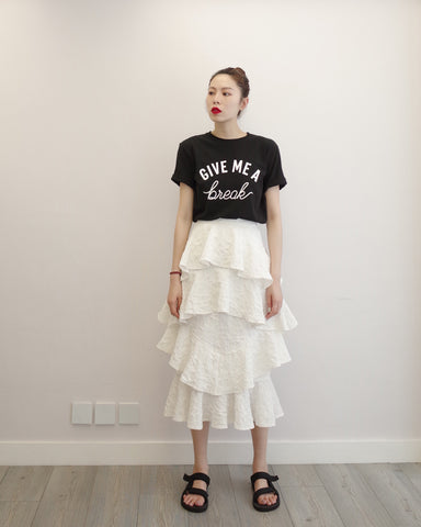 White Crinkle Layered Skirt