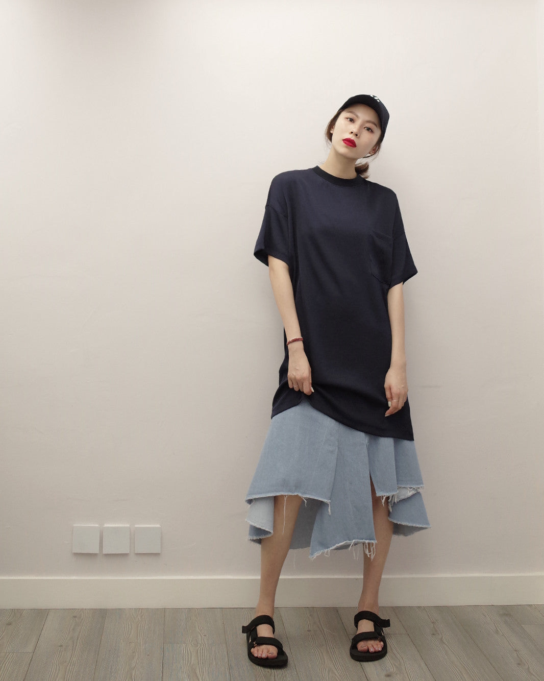 Navy Oversized-Tee Soft Dress