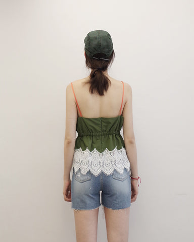 Olive Cami with Lace