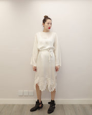 silky embroidery dress with belt (blk/wht)