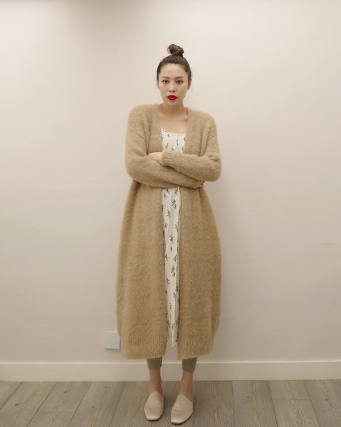 textured long cardigan