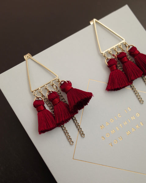 triangular tassels earring