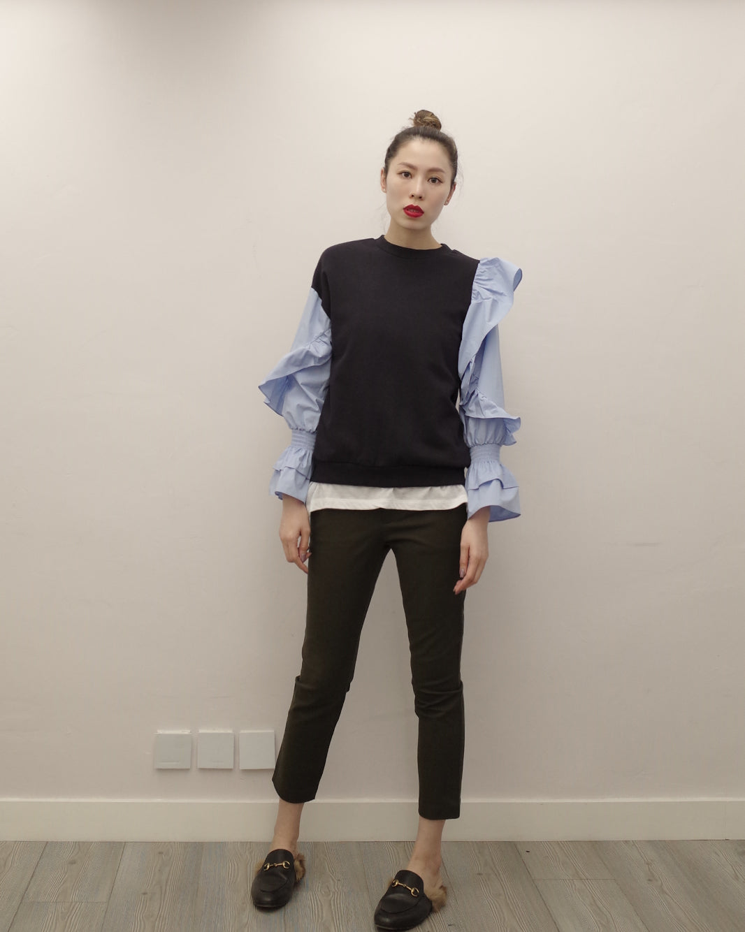sweat top with ruffle sleeves
