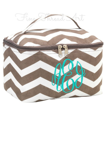 Taupe Chevron Cosmetic Bag