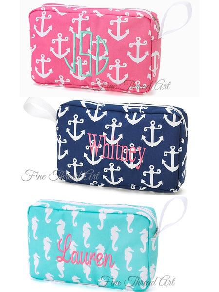Small Zippered Bag with Monogram in Pink Anchor, Navy Anchor, and Aqua Seahorse
