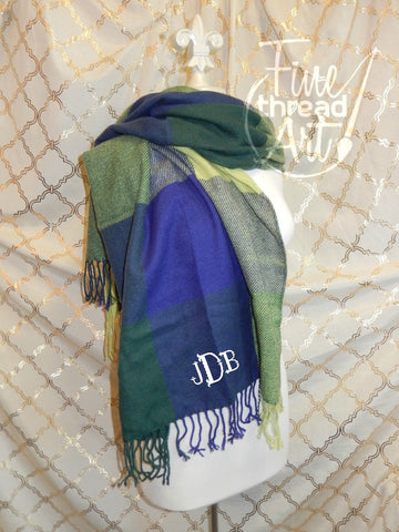 SALE Plaid Blanket Fringed Scarf with Monogram, Blue Multicolor