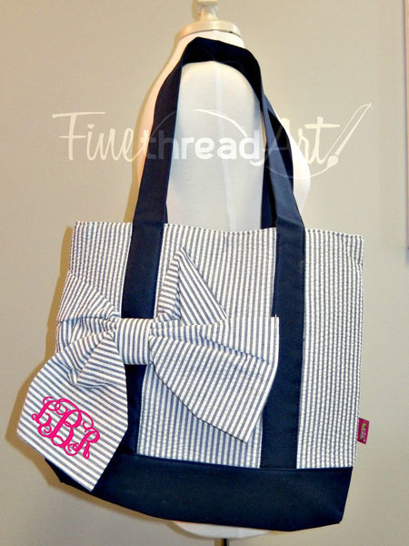 Navy and White Seersucker Tote with Bow and Monogram
