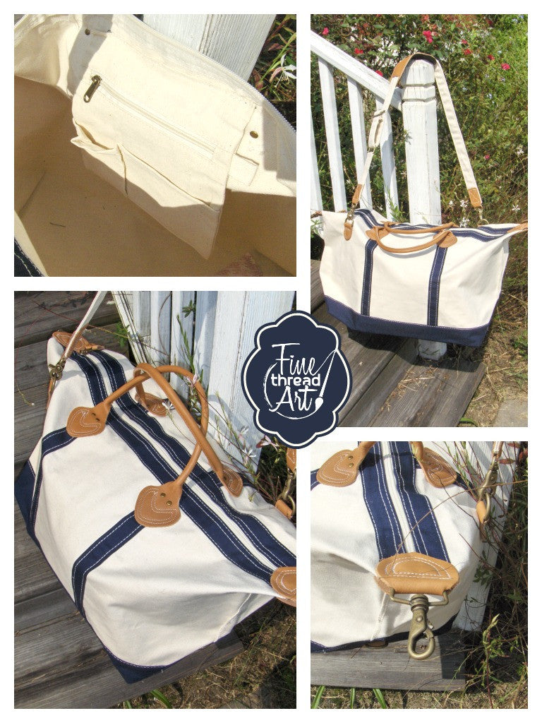 Monogram Duffle in Natural Canvas and Navy