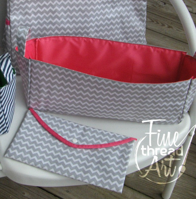 Gray Chevron Diaper Caddy or Wipes Case with Pink Detailing