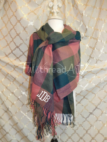 SALE Plaid Blanket Fringed Scarf with Monogram, Dark Coral Multicolor