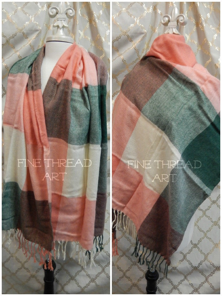 SALE Plaid Blanket Fringed Scarf with Monogram, Coral and Cream Multicolor