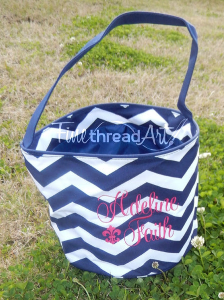 Chevron Bucket Tote in Pink and Navy with Monogram or Name