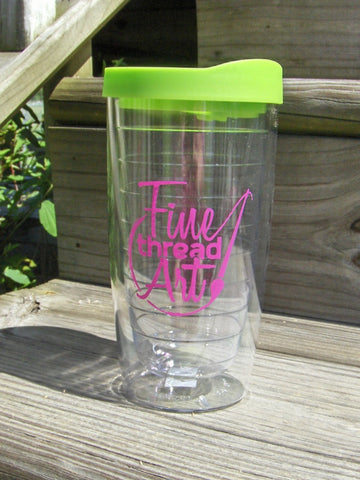 Fine Thread Art Double Walled Tumbler in Lime Green and Hot Pink