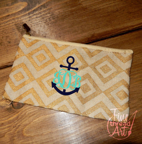 Gold Jute Diamond Pattern Cosmetic Bag with Monogram