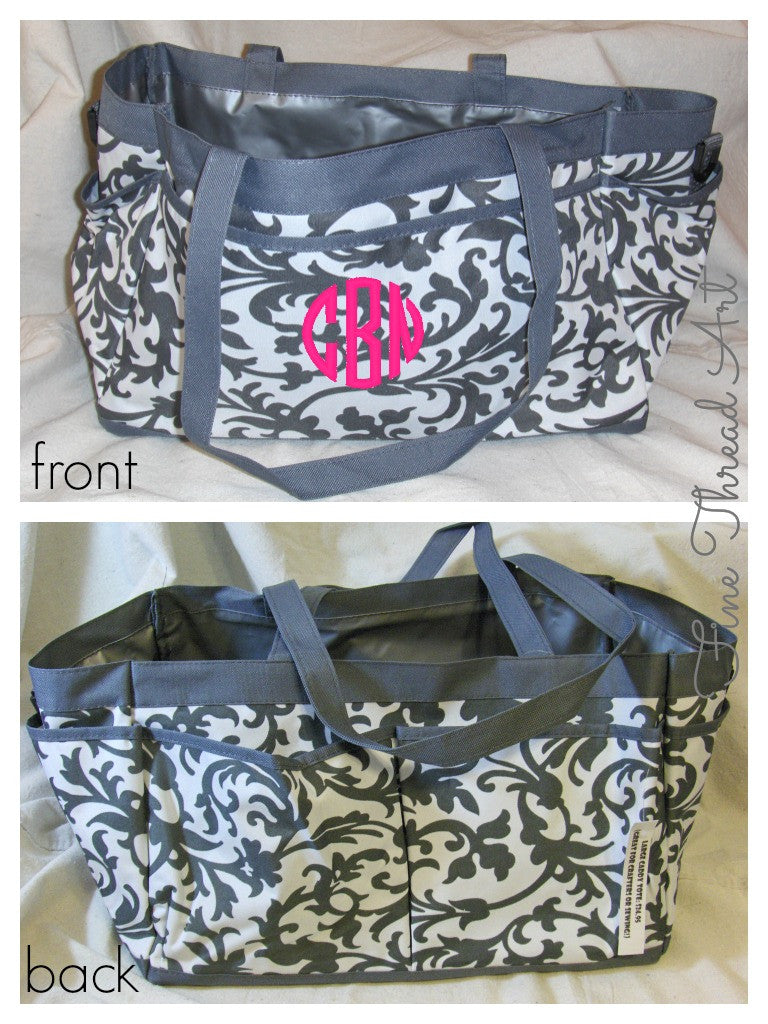 Gray Floral Pocket Caddy with Monogram