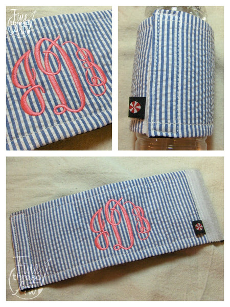 Seersucker Koozie with Monogram