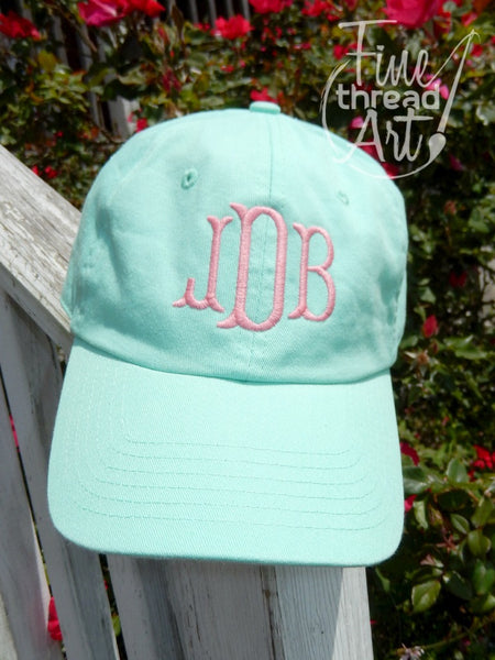 Monogram Baseball Cap in Mint and Aqua
