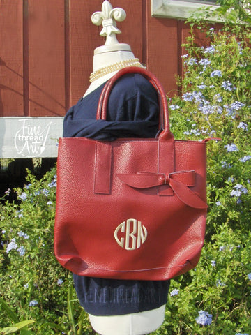 Monogram Shoulder Purse with Bow