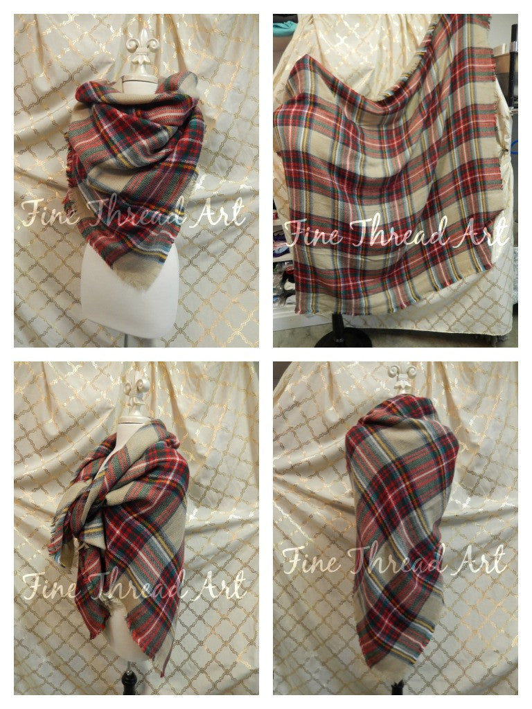 SALE Plaid Blanket Scarf with Monogram, Khaki and Red Multicolor