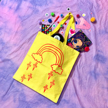 Load image into Gallery viewer, rainbow dagger tote bag
