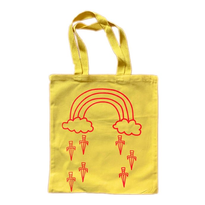 rainbow dagger tote bag