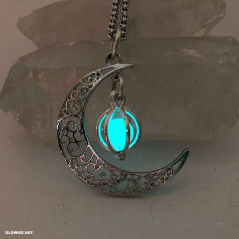 Crescent Moon Glowing Orb Necklace