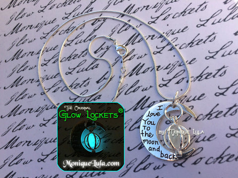 Love You to the Moon and Back Crescent Orb Glowing Necklace